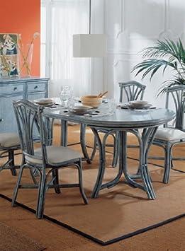 lotus a table de de salle manger linares en rotin rotin 2 allonges couleur bleu. Black Bedroom Furniture Sets. Home Design Ideas