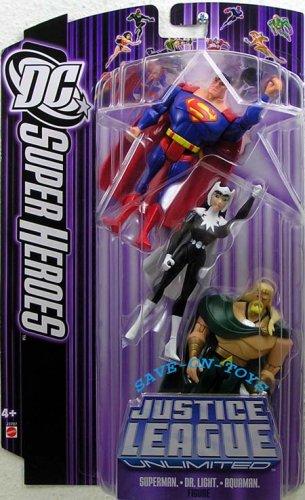 Buy Low Price Mattel JUSTICE LEAGUE UNLIMITED DC SUPER HEROES SUPERMAN/AQUAMAN/DR. LIGHT Figures (B000EGETPC)