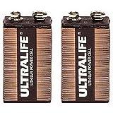 Two (2) Ultralife 9v Long Life Lithium Battery Lithium manganese dioxide (LiMnO2)