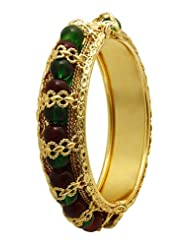 Sharnam Art - Stunning Green And Maroon Brass Bollywood Style Kada For Women - RB_1003-2.4