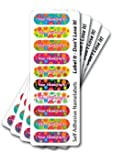 Name labels, floral stick on name labels, 40 pack with over laminates. Personalised, fun, vibrant & waterproof. Multi coloured pack!