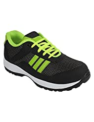 Footfly Men's PU Black & Green Sports Shoes