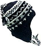 Nepal Hand Knit Sherpa Hat with Ear Flaps, Trapper Ski Heavy Wool Fleeced Lined Cap