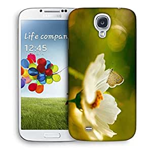 Snoogg White Butterfly In White Flower Printed Protective Phone Back Case Cover For Samsung S4 / S IIII