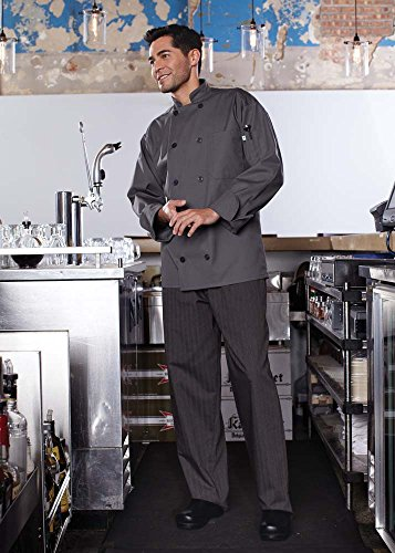 Uncommon Threads 0488 Adult's Orleans Chef Coat (X-Large, Slate)