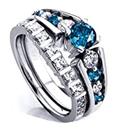 1.75 Carat (ctw) 14k White Gold Princess & Round White And Blue Diamond Ladies Bridal Ring Set…