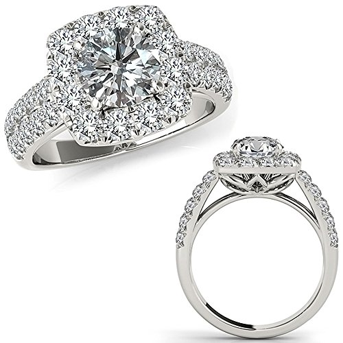 1.97 Carat G-H Diamond Fancy Cushion Beautiful Classic Design Halo Wedding Bridal Ring 14K White Gold