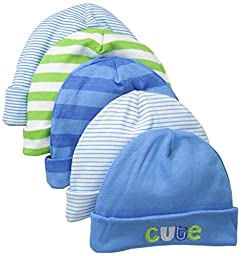 Gerber Baby Boys\' 5 Pack Caps, Stripes Multi, 0-6 Months