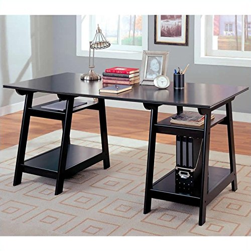 Coaster Trestle Style Office Desk Table, Black Wood Finish