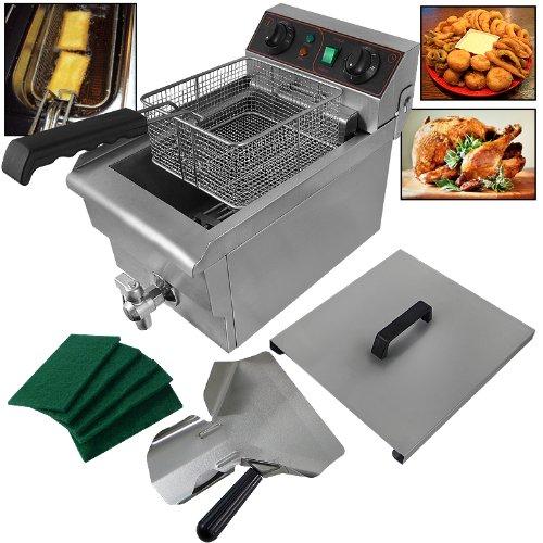 10 Liter Electric Countertop Deep Fryer Kitchen/Restaurant 1500W Stainless Steel Adjustable Temperature Built-In Timer