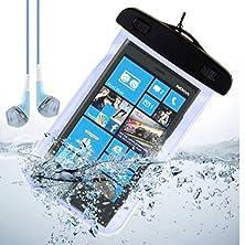 buy Blue Waterproof Pouch Dry Bag Case For Nokia Lumia 929 / Nokia Xl / Nokia Lumia 630 / Nokia 930 + Vangoddy Headphone With Mic , Blue