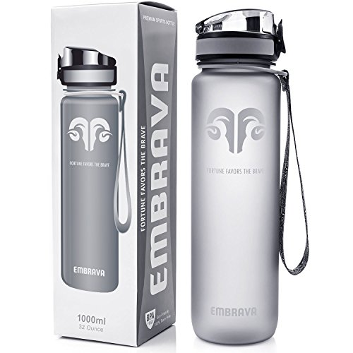 Best Sports Water Bottle - 32oz Large - Fast Flow, Flip Top Leak Proof Lid w/ One Click Open - Non-Toxic BPA Free & Eco-Friendly Tritan Co-Polyester Plastic (GRAY) (Large Sports Bottle compare prices)