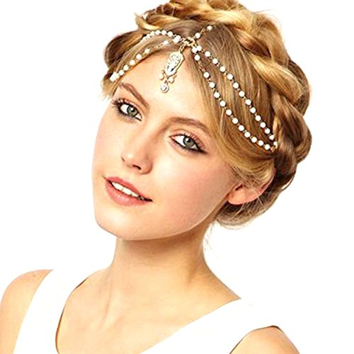 TS Unique Fashion Metal Head Chain Jewelry Chain Beaded Headband Head Piece Flapper Hair Band (A) (Arabian Head Bands compare prices)