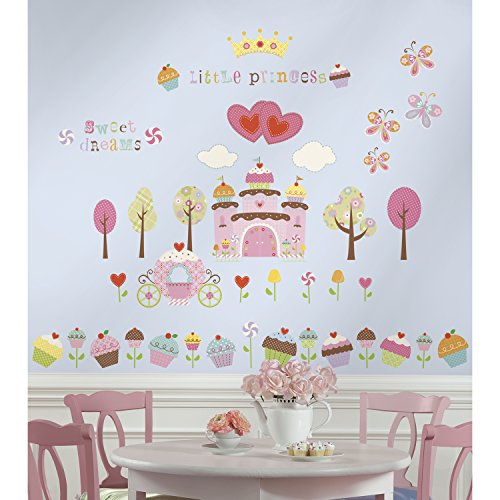 RoomMates RMK1605SCS Happi Cupcake Land Peel and Stick Wall Decals, 56 Count - 1