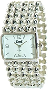 Fame Women's Quartz Watch White Silver Analogue Metal Wristwatch