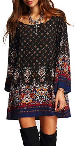 Risesun-Womens-Bohemian-Vintage-Printed-Ethnic-Style-Loose-Casual-Tunic-Dress