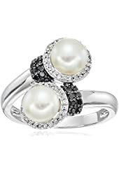 Sterling Silver Freshwater Double Pearl Diamond Ring (1/10cttw, I-J Color, I2-I3 Clarity), Size 7