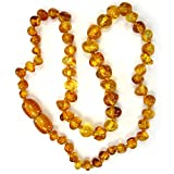 Baltic Amber Teething Necklace - Genuine Amber Necklaces for Baby - Natural Teether Relief for Boys and Girls - Hand Knotted Beads with Screw Clasp (Honey)