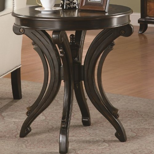 Cheap Accent End Table with Animal Print Top in Brown Finish (VF_900902)