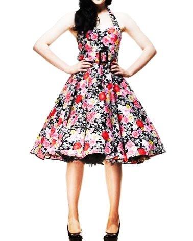 HELL BUNNY Kitsch 50s DRESS Floral Skulls VONNIE Black Pink All Sizes