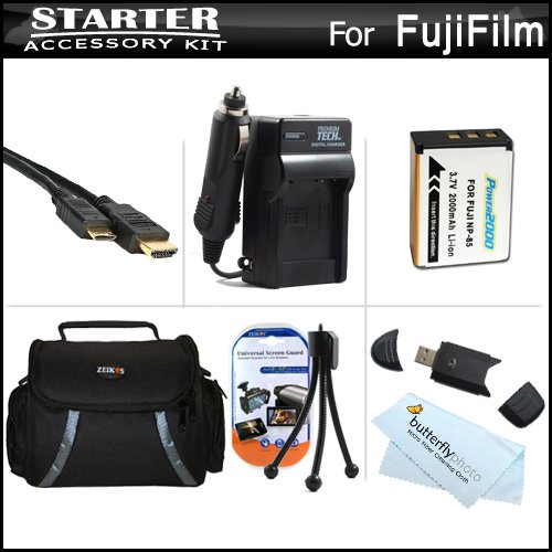 Must Have Accessory Kit For Fuji Fujifilm FinePix SL300, FinePix SL1000 Digital Camera Includes Extended (2000 Mah) Replacement Fuji NP-85 Battery + AC/DC Rapid Charger + Deluxe Case + USB 2.0 Card Reader + Mini HDMI Cable + Screen Protectors + More