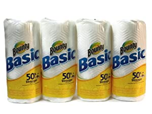 Bounty® White 'Basic' Brand Paper Towels - 4-Rolls - (50% Stronger-When-Wet), Each... by Bounty