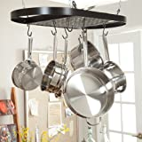 Kinetic Wrought Iron Oval Pot Rack - Black