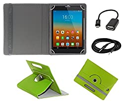 ECellStreet 360° Degree Rotating 7 Inch Flip Cover Diary Folio Case With Stand For Wishtel Ira Icon 3G - Green + Free Aux Cable + Free OTG Cable