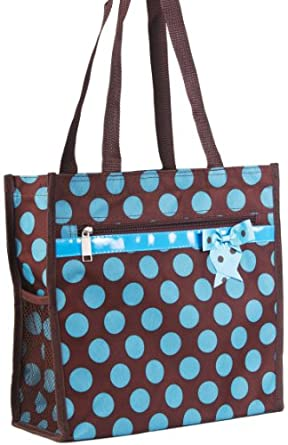 J Garden Brown Turquoise Polka Dot Canvas Travel Tote Bag with Coin Purse 12-inch