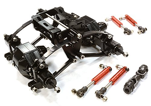 Integy RC Hobby C26321BLACK Billet Machined Rear Suspension & Axle Conversion for Custom 1/14 Semi-Tractor