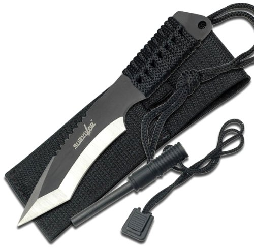 Survivor-HK-759-Fixed-Blade-Knife-Two-Tone-Tanto-Blade-Black-Cord-Wrapped-Handle-7-Inch-Overall