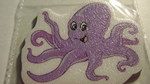 Purple Octopus Bath Tub Treads Mat Tattoos 5 Bathtub Appliques Made in USA