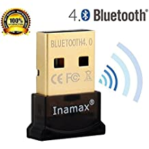 Inamax Bluetooth 4.0 USB Dongle Adapter For PC With Windows 10 / 8.1 / 8 / 7 / XP,Vista, - Plug And Play On Win...