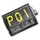 8oz Flask Stitched PQI Airport Code for Presque Island, ME Stainless Steel - Neonblond