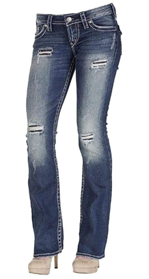 Silver Jeans Women Plus Pioneer Bootcut Distressed Mid Rise in Med Blue
