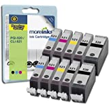 10 Moreinks Compatible Printer Ink Cartridges to replace Canon CLI-521 / PGI-520 - Cyan / Magenta / Yellow / Blackby Moreinks