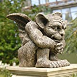 Winged Mediating Gargoyle Dragon Sculpture Statue Figurine - Set of Two