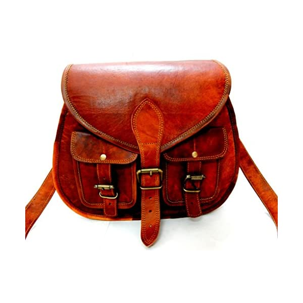 6305666470f6 Firu-Handmade Women Vintage Style Genuine Brown Leather Cross Body Shoulder  Bag Handmade Purse