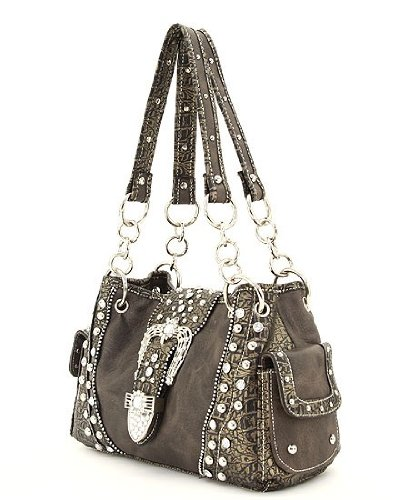 Black Western Rhinestone Buckle Crocodile Handbag