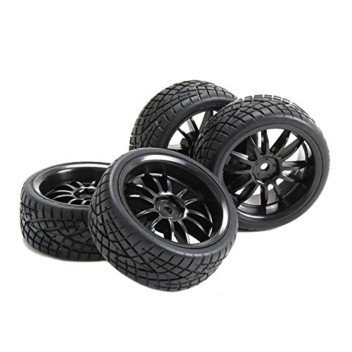 Generic Wheel Rims and Tires 12 Spoke for RC 1:10 On Road Car Black Pack of 4