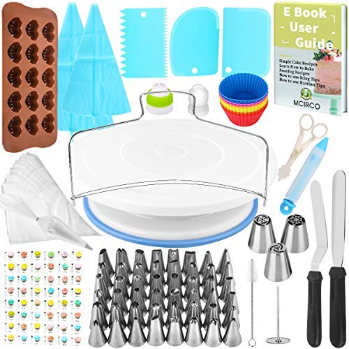 132 Pcs Cake Decorating Supplies kit with Turntable,48 Pcs Numbered Icing Tips and 3 Pcs Russian Piping Nozzles,12 Pcs Cupcake Moulds (Color: 132pcs, Tamaño: 132pcs)