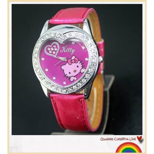 Miss Peggy Jos   Hello Kitty Heart Shape Quartz Watch bezel Is About the Size of a Silver Dollar   ***Comes with a Hello Kitty Necklace***