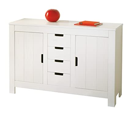 BertramBUFFET WITH 2 DOORS + 4 DRAWERS. SIZE 139x43x91H. WHITE SOLID PINE WATER-VARNISHED. ARTICLE IN KIT.