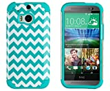 DandyCase 2in1 Hybrid High Impact Hard Aqua & White Chevron Pattern + Silicone Case Case Cover For HTC One M8 (2014 release) + DandyCase Screen Cleaner