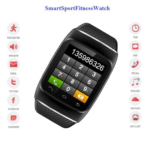 Smartsportfitnesswatch (Black Case & Black Strap) : Sport Fitness Smartwatch , Connect Sync To Ios(Iphone/Ipad) / Android Smartphones For Calls, Music, Phonebook, Etc. Built-In Pedometer, Fm Radio, Speaker.