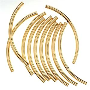 Beadaholique 3mm by 50mm 10-Piece 22K Gold Plated Long Curved Noodle Tube Beads