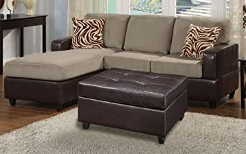 Poundex F7669 Pebble Colored Fabric & Brown Leatherette Sectional Sofa