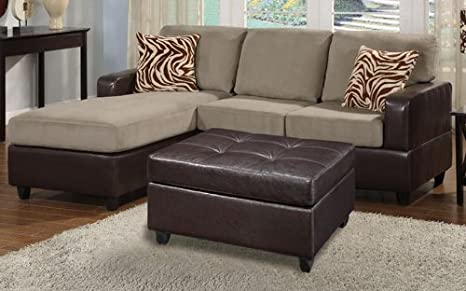 3 Piece Pebble Microfiber And Faux Leather Sectional Sofa by Poundex