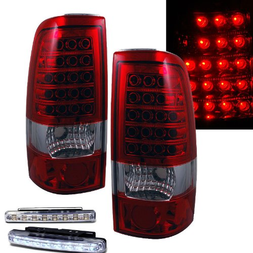 1999-2002 Chevy Silverado Rear Brake Tail Lights Red/Clear+Led Bumper Running