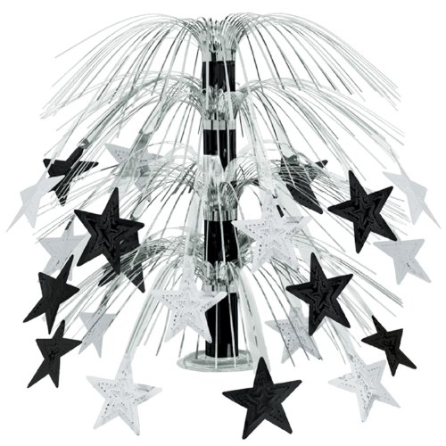 Beistle 1-Pack Star Cascade Centerpiece, 18-Inch, Black and Silver - 1